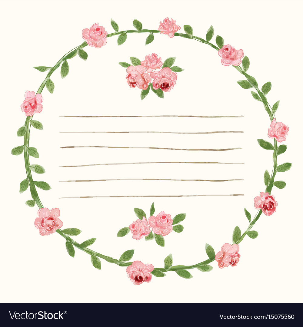 Watercolor round rose flower frame Royalty Free Vector Image