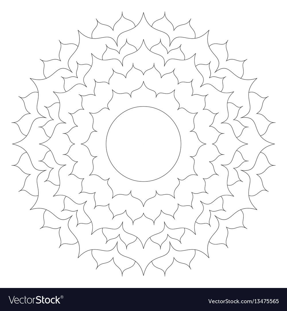 Black and white round simple mandala lotus