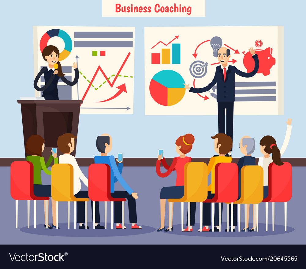 Business coaching orthogonal composition vector image