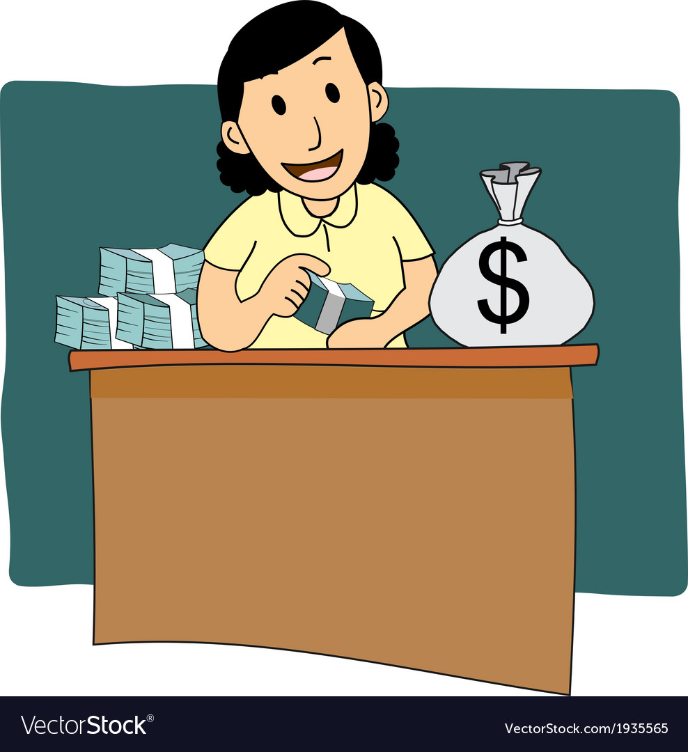 Businesswoman counting money cartoon vector image
