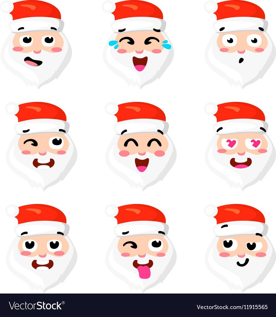 Christmas Set - six emotion faces of santa