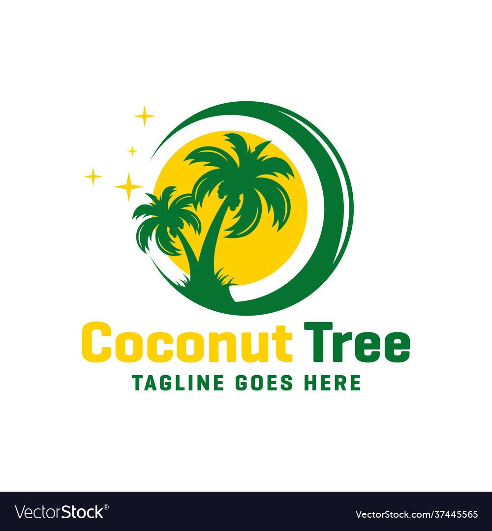 Coconut tree logo on beach