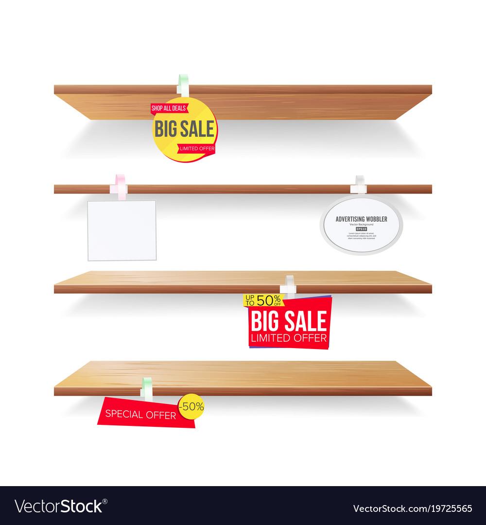 Empty shelves advertising wobblers retail