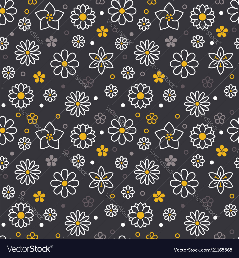 Flowers seamless pattern with flat line icons