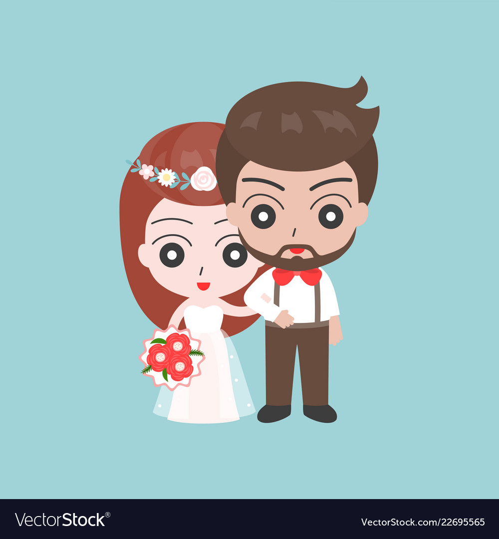 Groom and bride arm in arm cute character for use