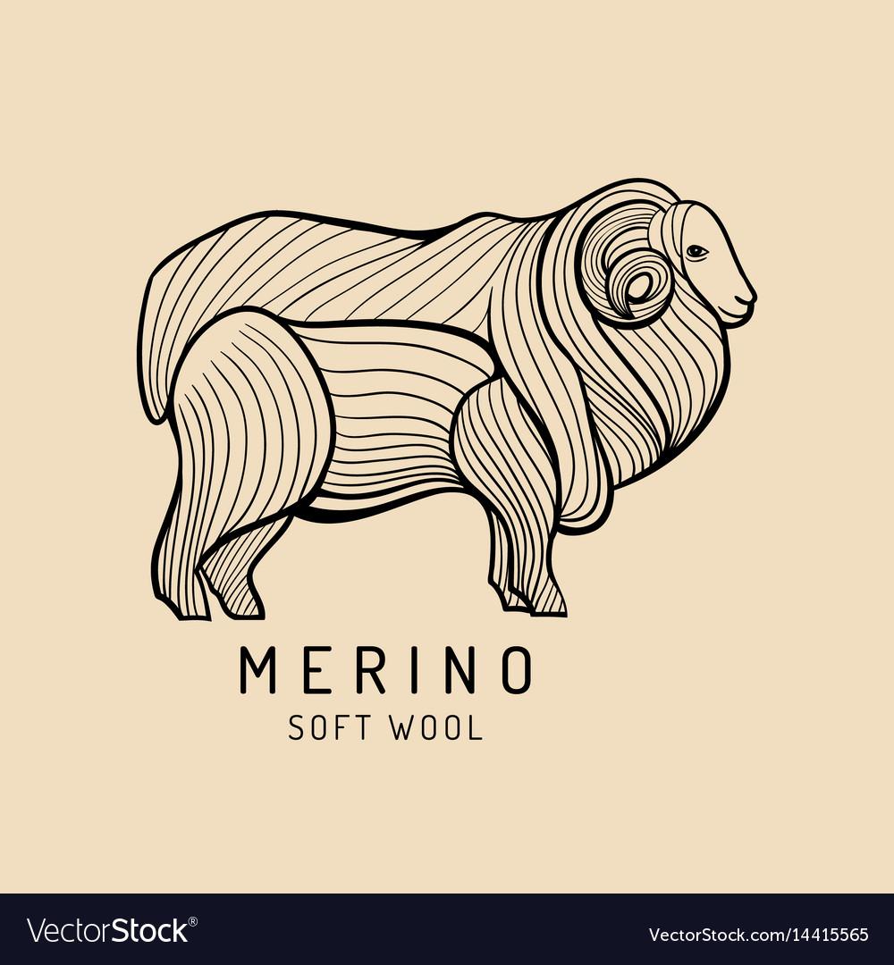 Merino sheep logo label ram