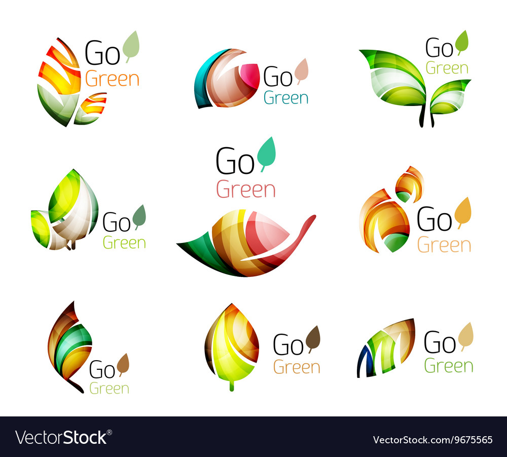 Set of abstract leaves vector image