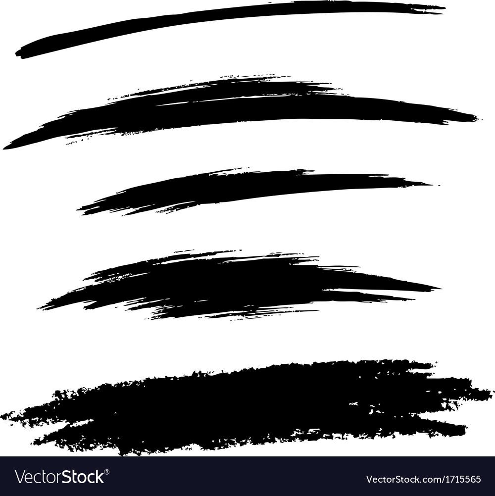 Set of Hand Drawn Grunge Brush Lines vector image