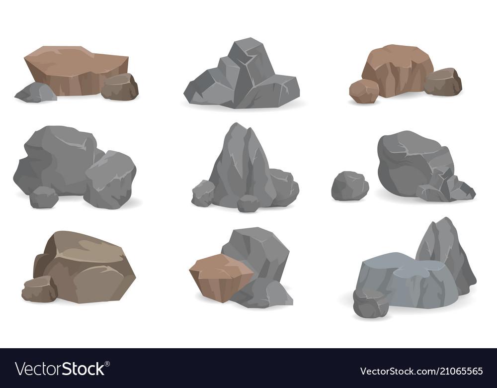 Set of stones and rocks for game design set gems