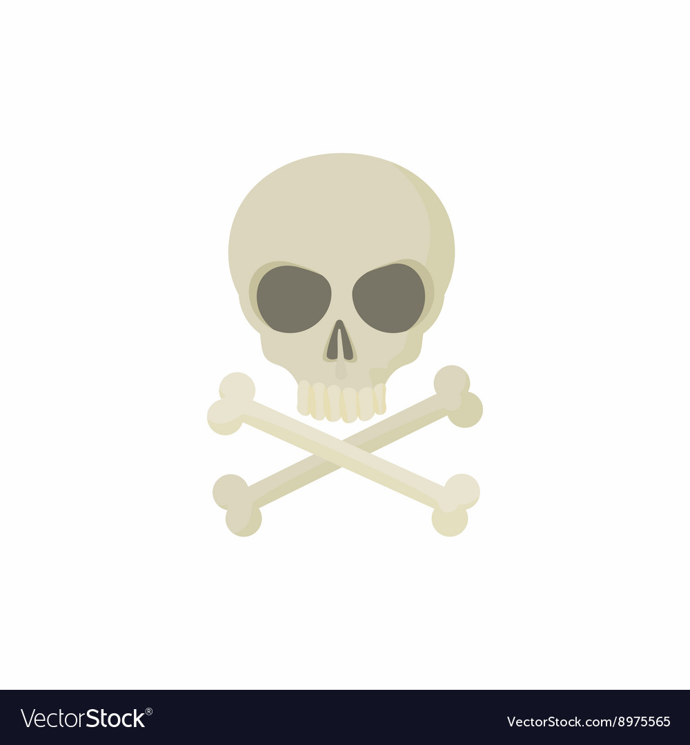 Skull with two crossed bones icon cartoon style vector image