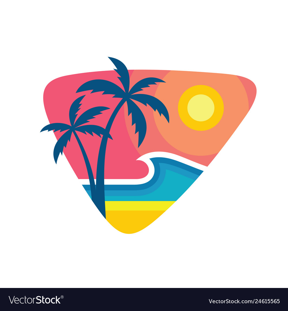 Surfing summer nights - concept business logo