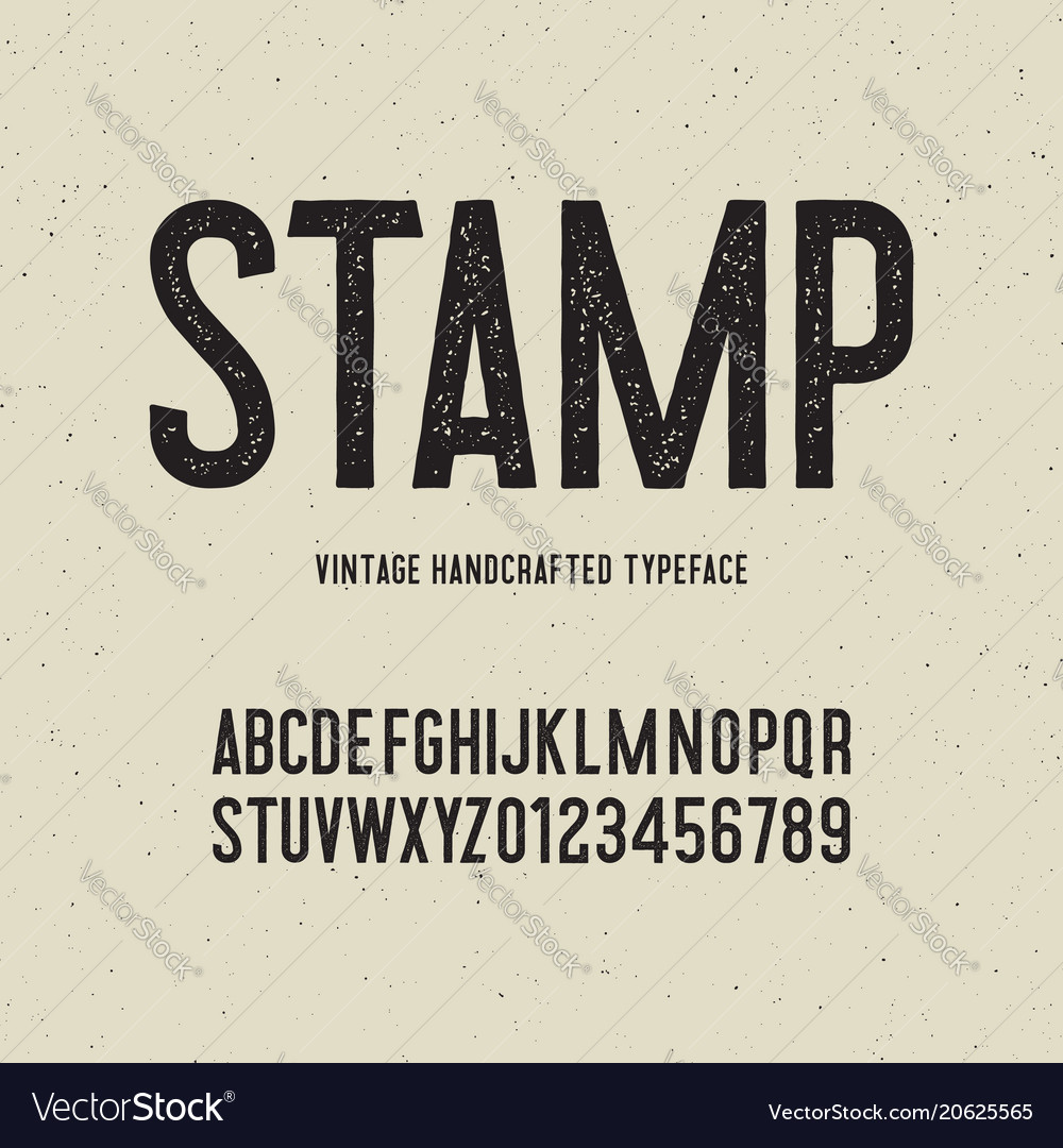 Vintage handcrafted typeface with stamp effect