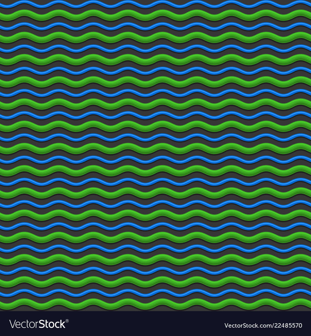 Abstract green and blue waves seamless pattern