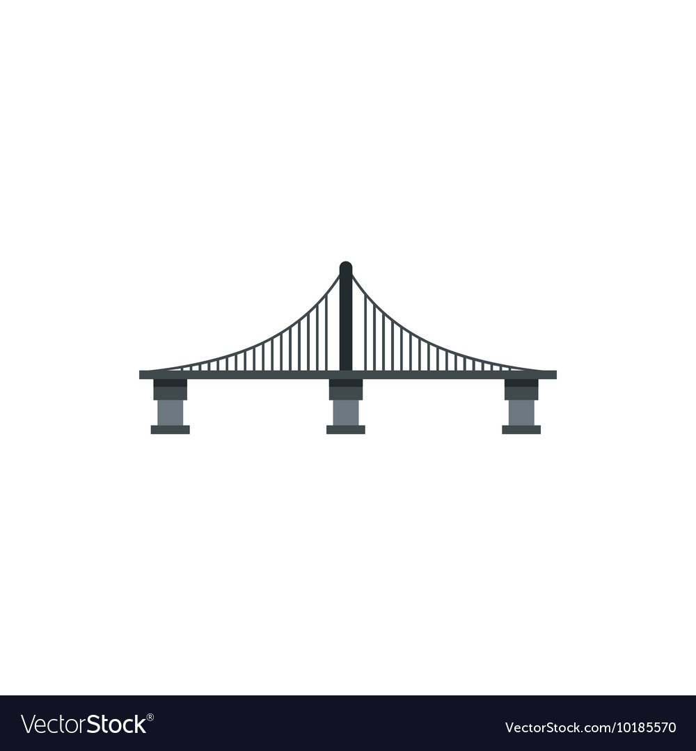 Cable stayed bridge icon flat style