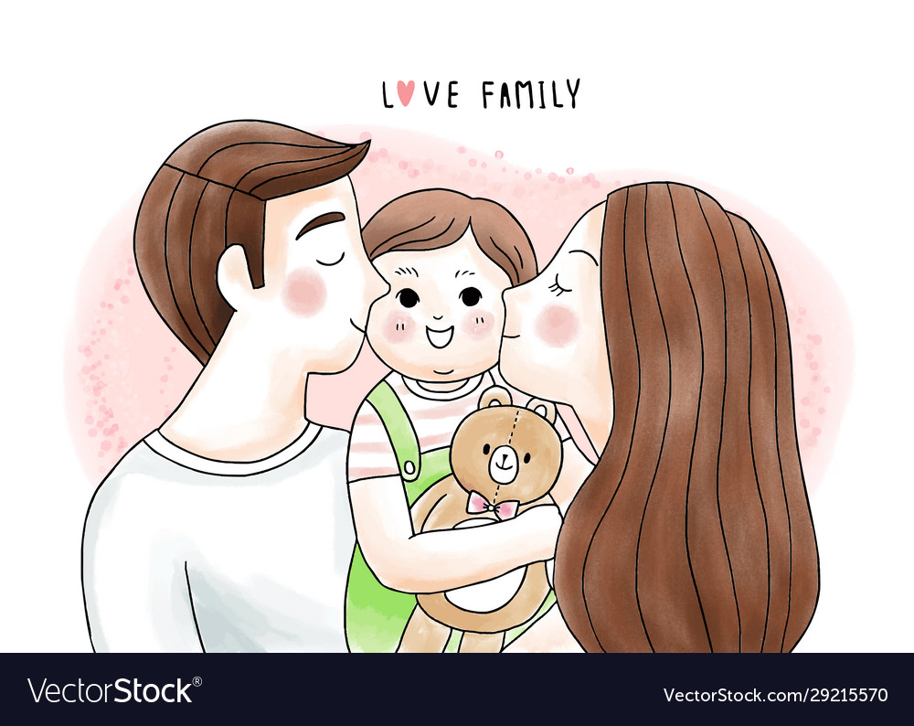 Cartoon Cute Father And Mother Kiss Baby Vector Image