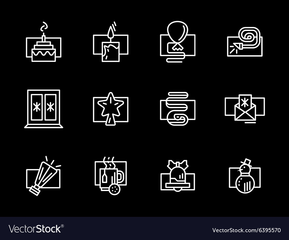 Christmas and New Year white line icons