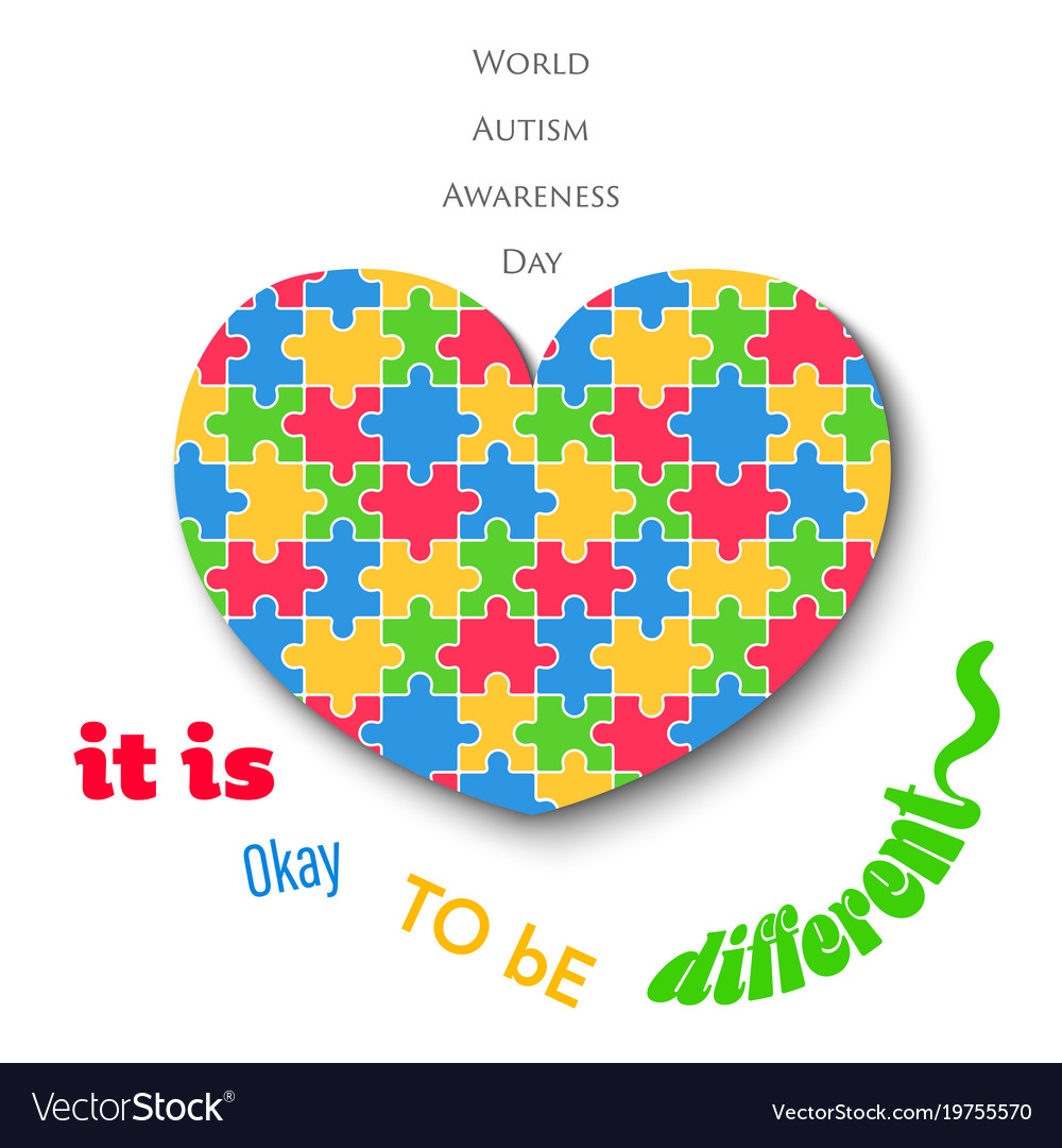 Colorful jigsaw heart on white background autism