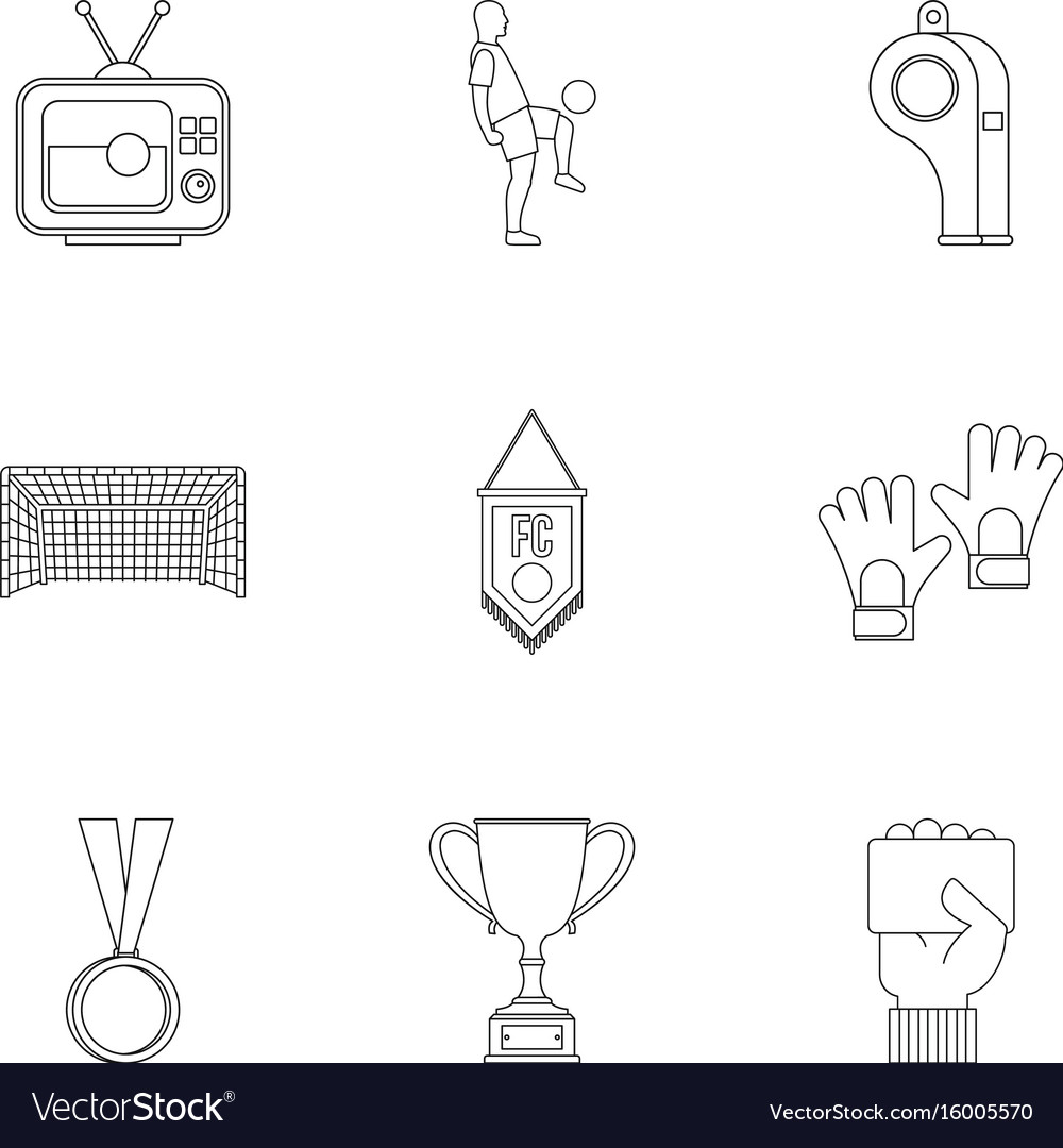 Football championship icons set outline style vector image
