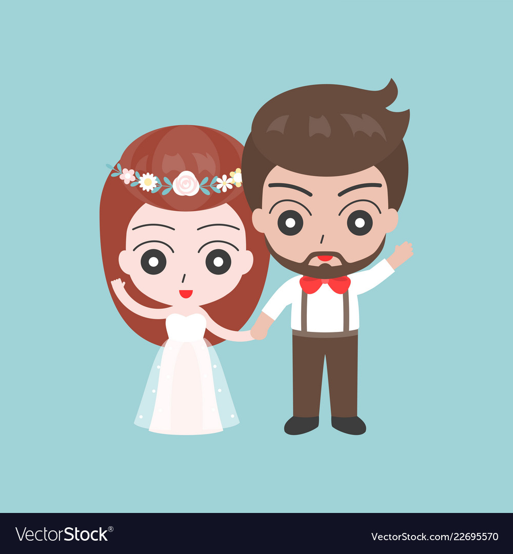 Groom and bride holding hand cute character for