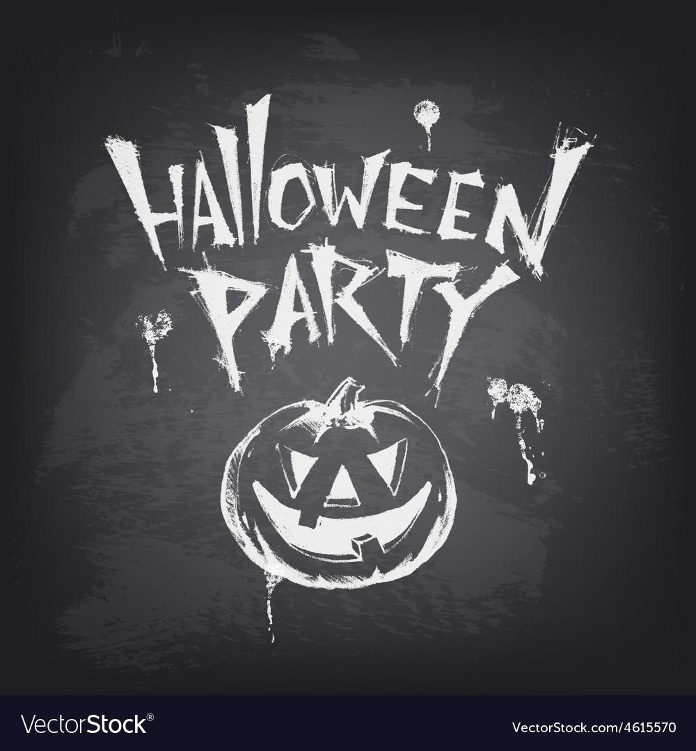 Halloween text design with pumpkin on chalkboard