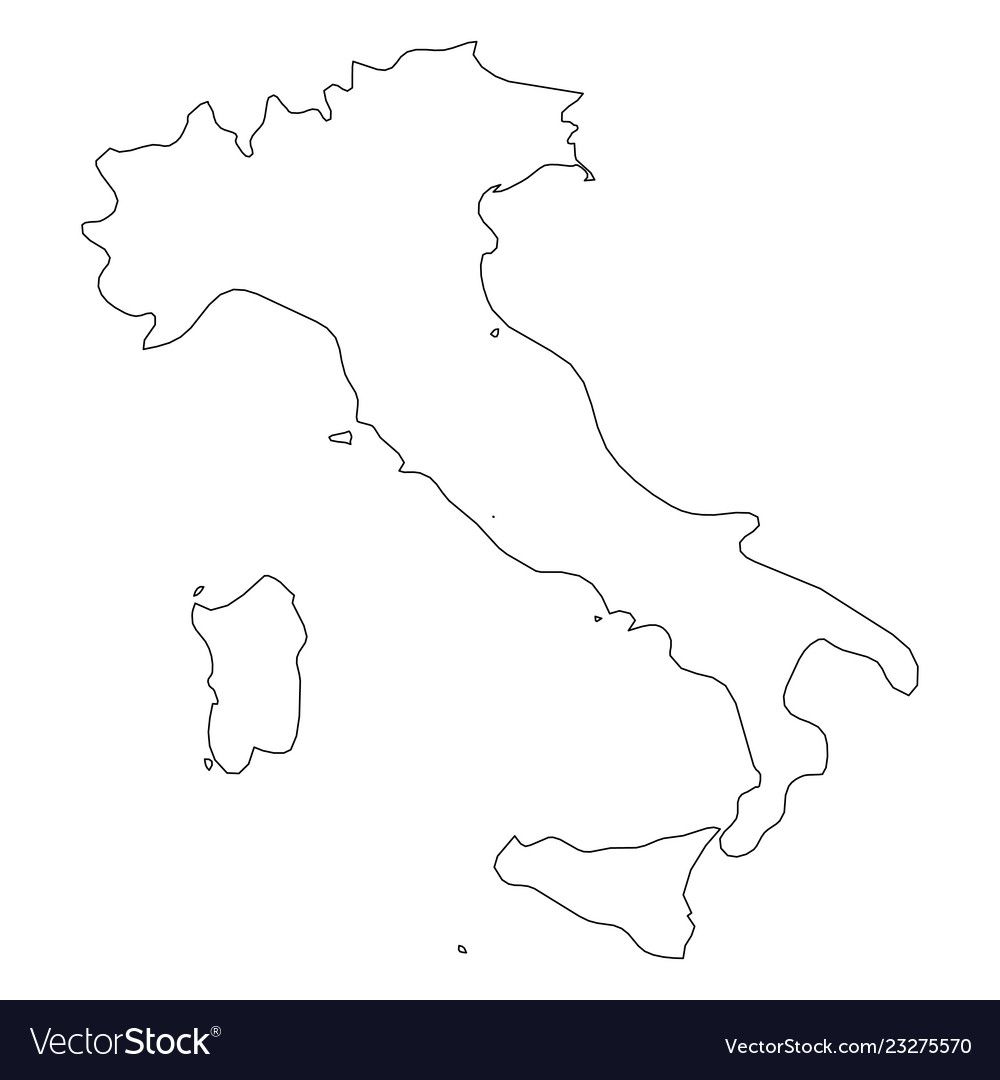 Map Of Italy Outline.Italy Solid Black Outline Border Map Of Country Vector Image