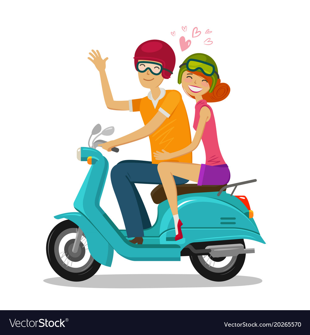 Loving couple riding scooter journey travel
