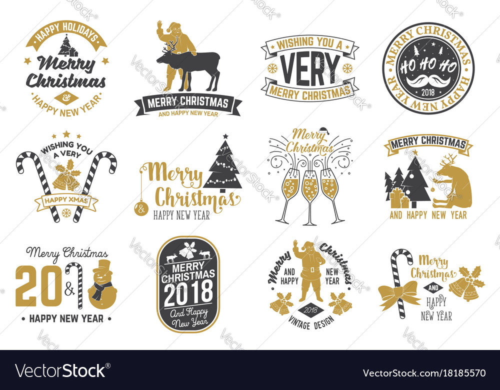 merry christmas and happy new year 2018 template vector image