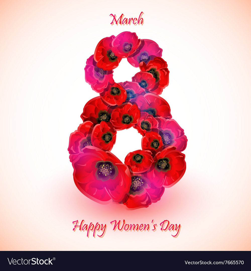 Poppy flowers on the greeting card for Womens day