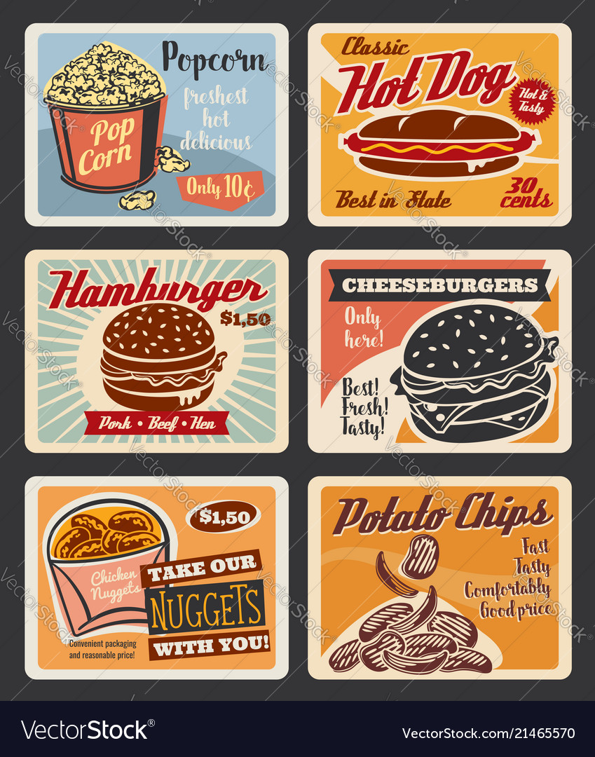 Retro fast food burgers and snacks posters