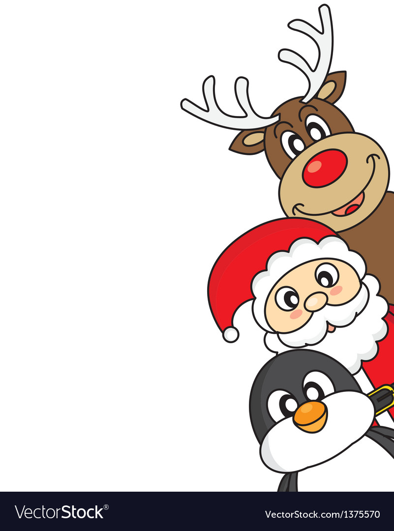 Santa claus reindeer and penguin vector image