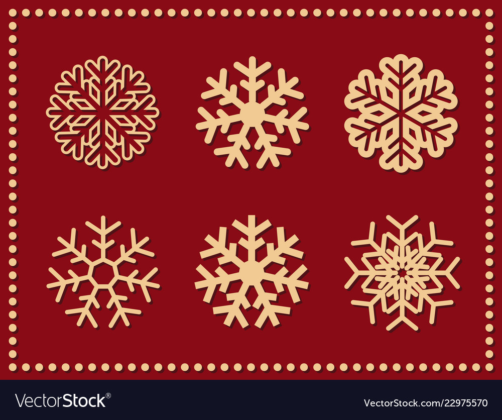 Set of isolated icon snowflakes on red