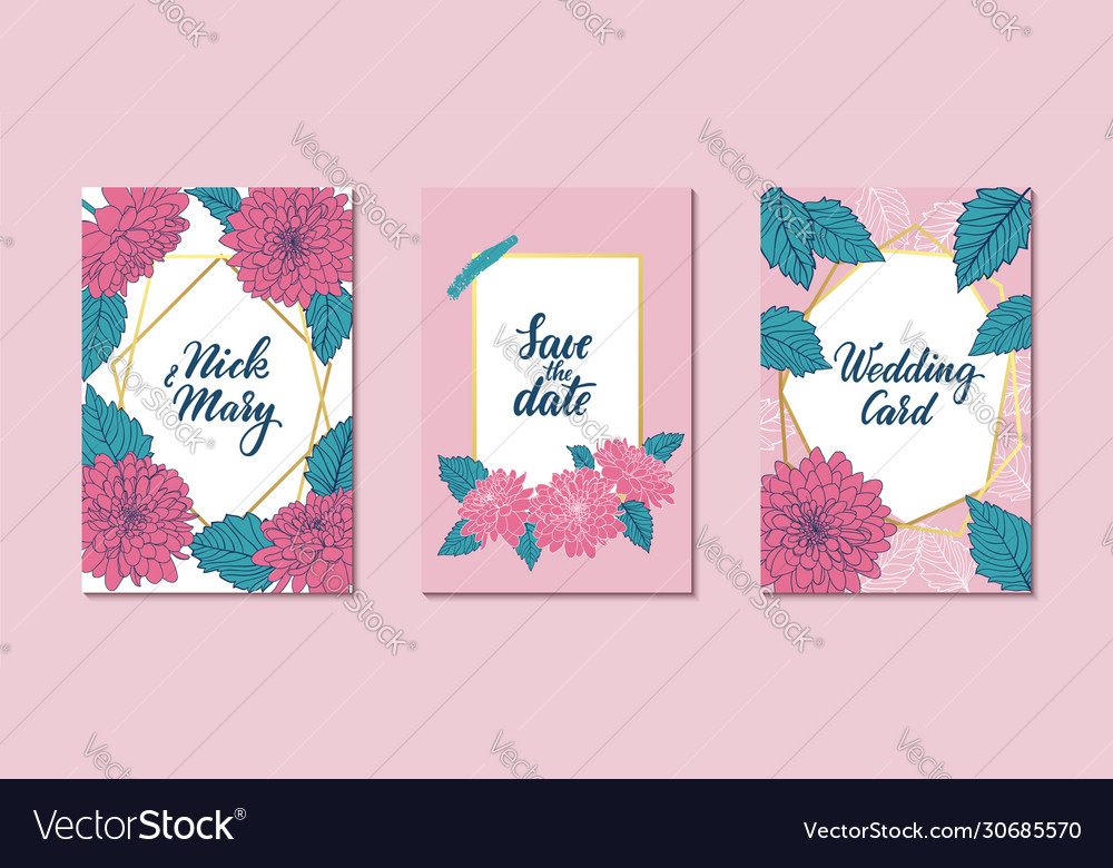 Set wedding invitation card with gold