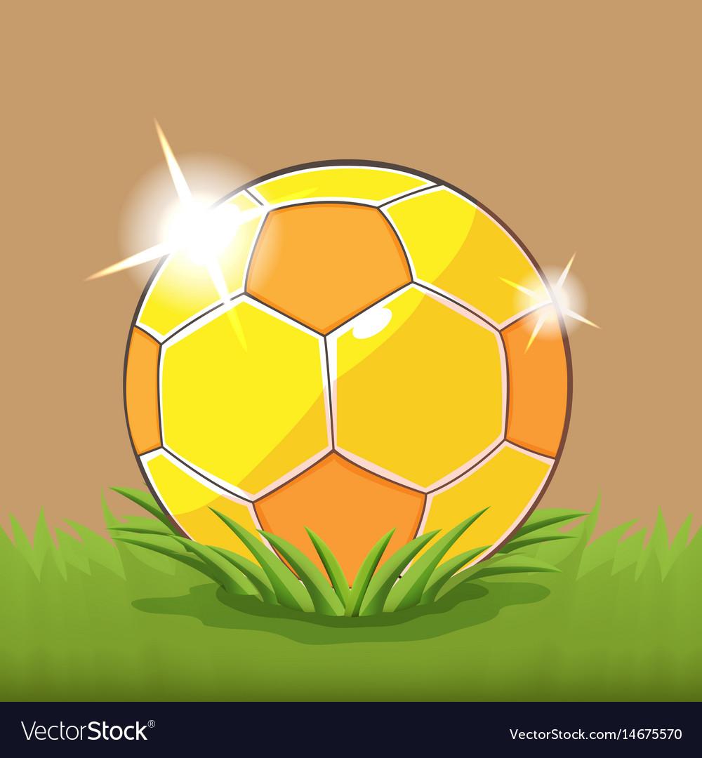 Soccer gold ball field grass vector image
