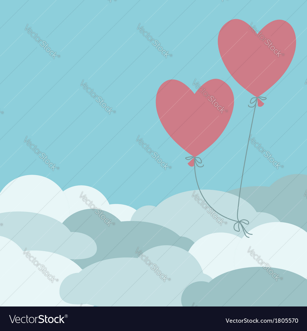 Two red balloons flying above the clouds vector image