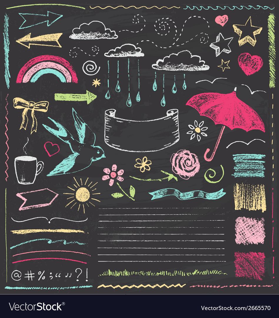 Vintage Chalkboard Design Elements Hand Drawn Set vector image