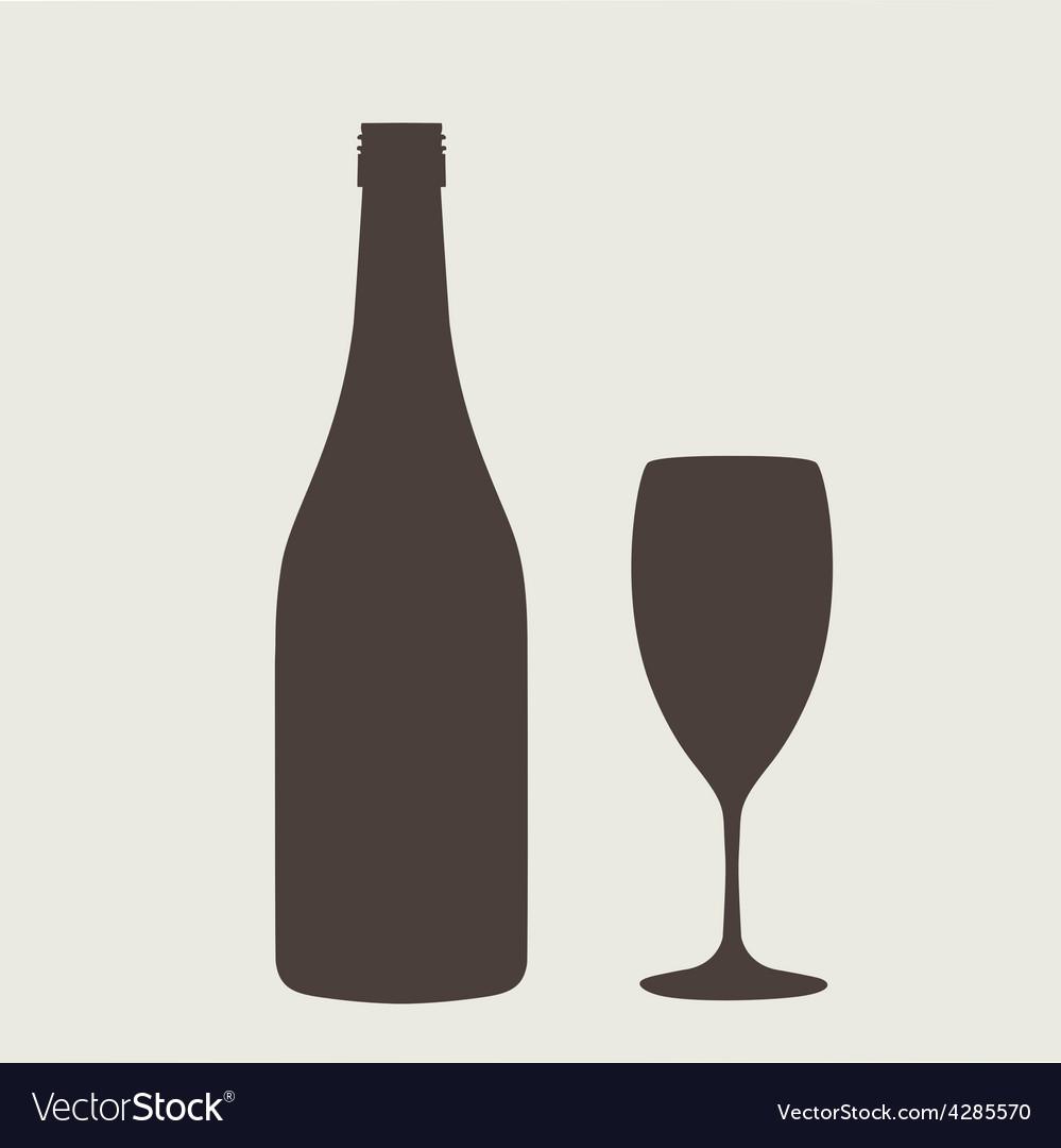 Wine bottle sign set Bottle icon vector image