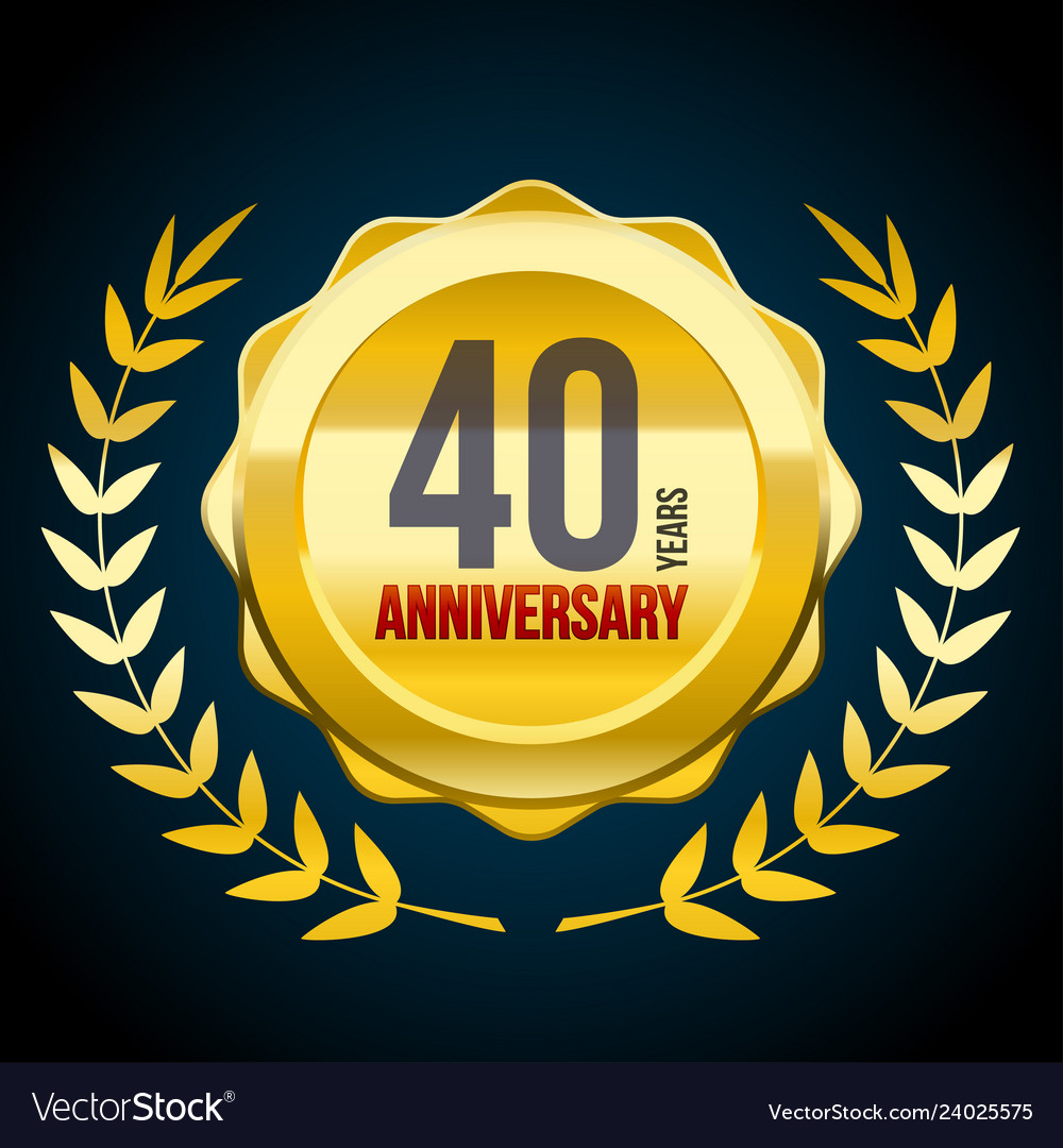 40 years anniversary gold and red badge logo
