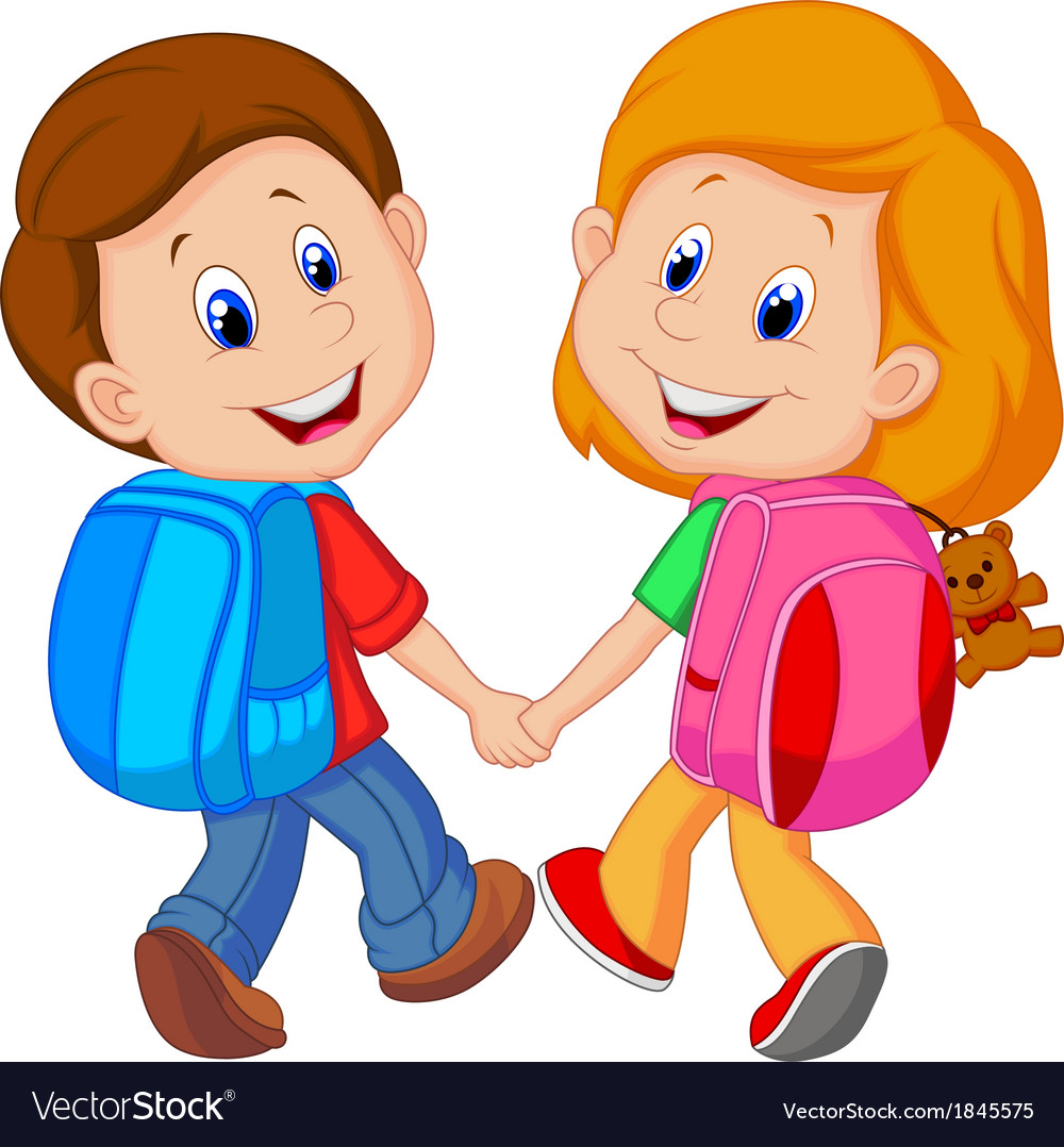 cartoon boy and girl with backpacks royalty free vector rh vectorstock com cartoon girl and boy cartoon girl and boy in love