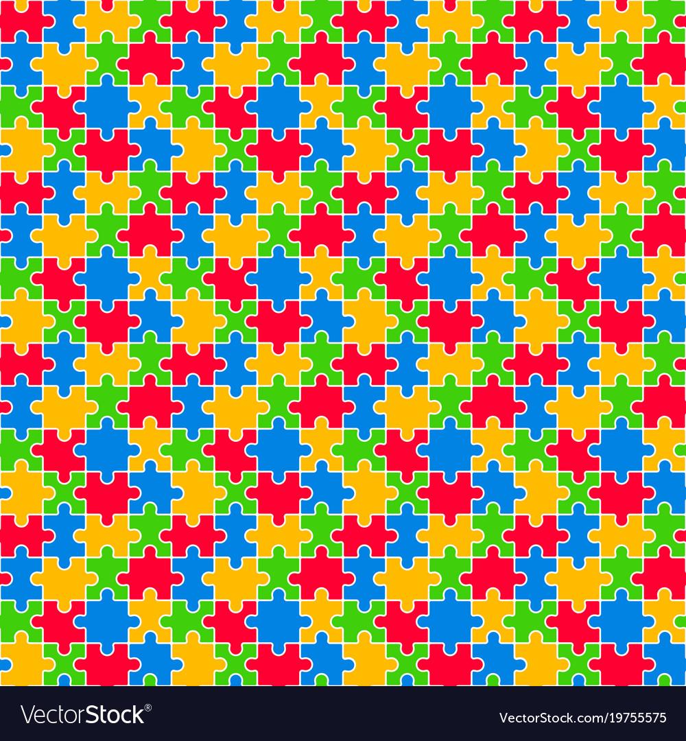 Colorful jigsaw seamless pattern