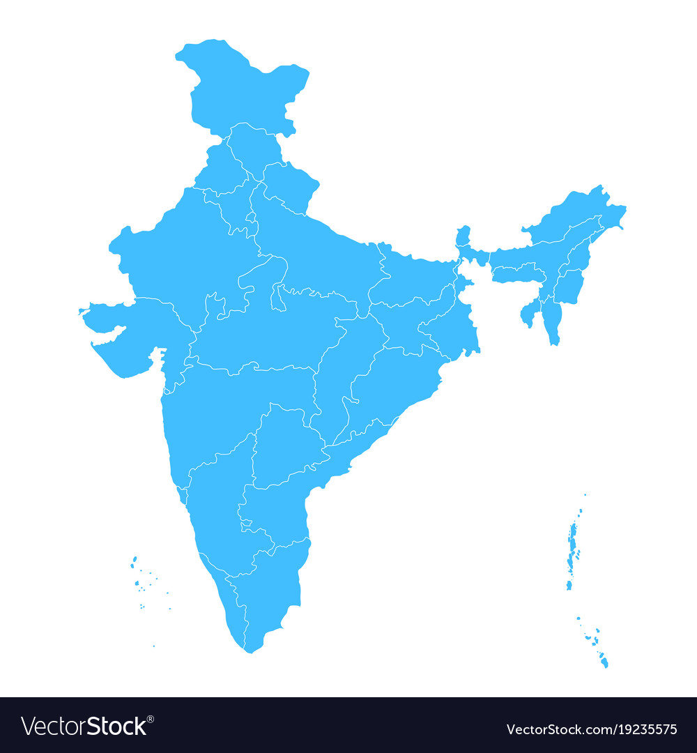 Detailed Map Of India Asia With All States And Vector Image - World map with all states