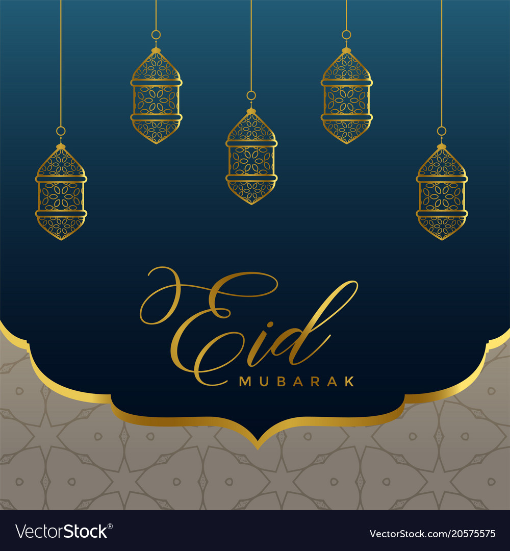 Islamic eid mubarak background with golden lamps vector image m4hsunfo