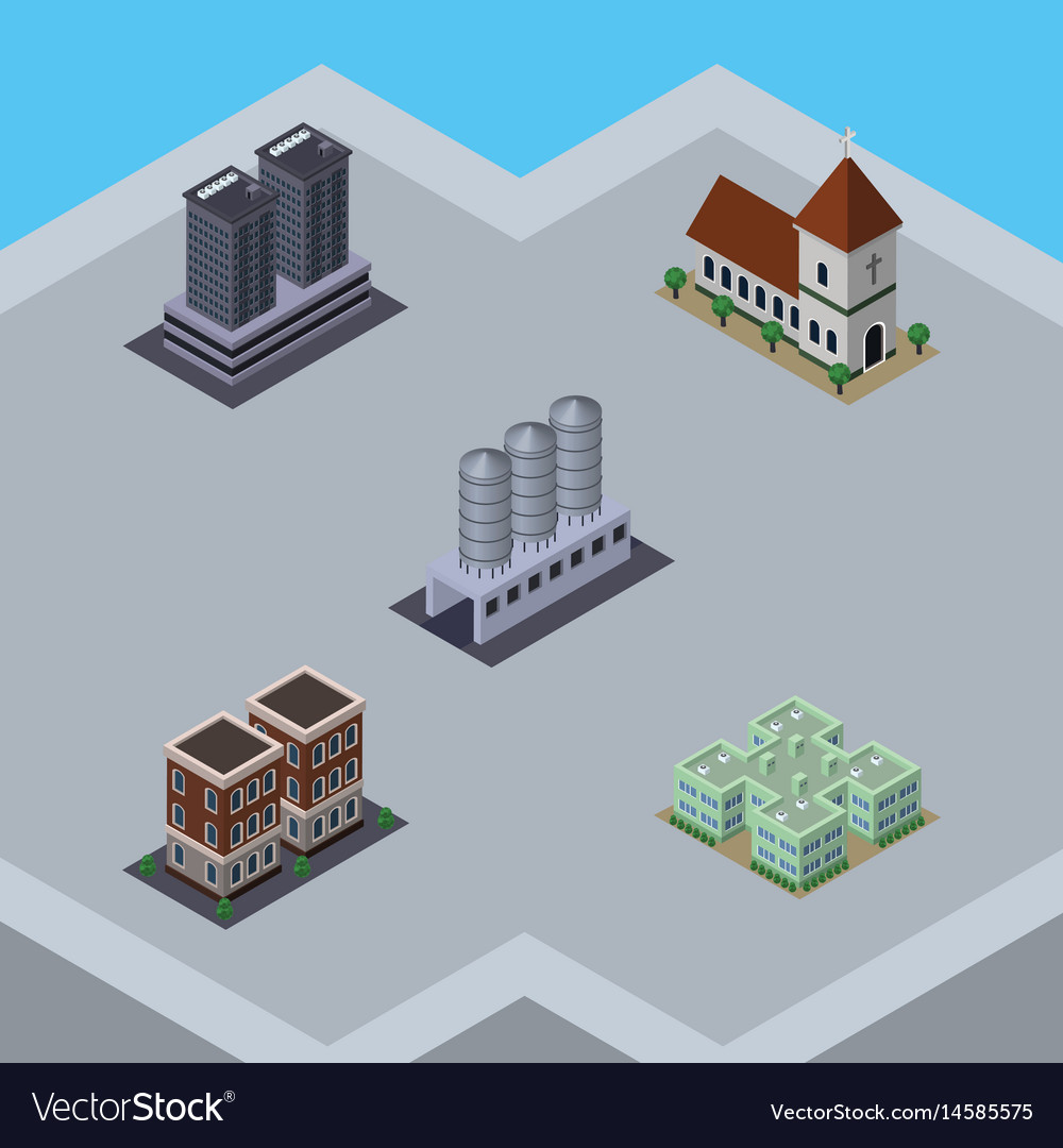 Isometric building set of chapel water storage vector image