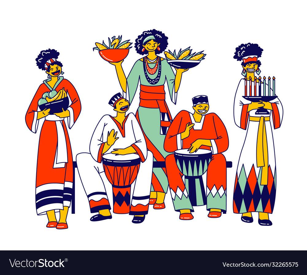 Kwanzaa celebration african characters
