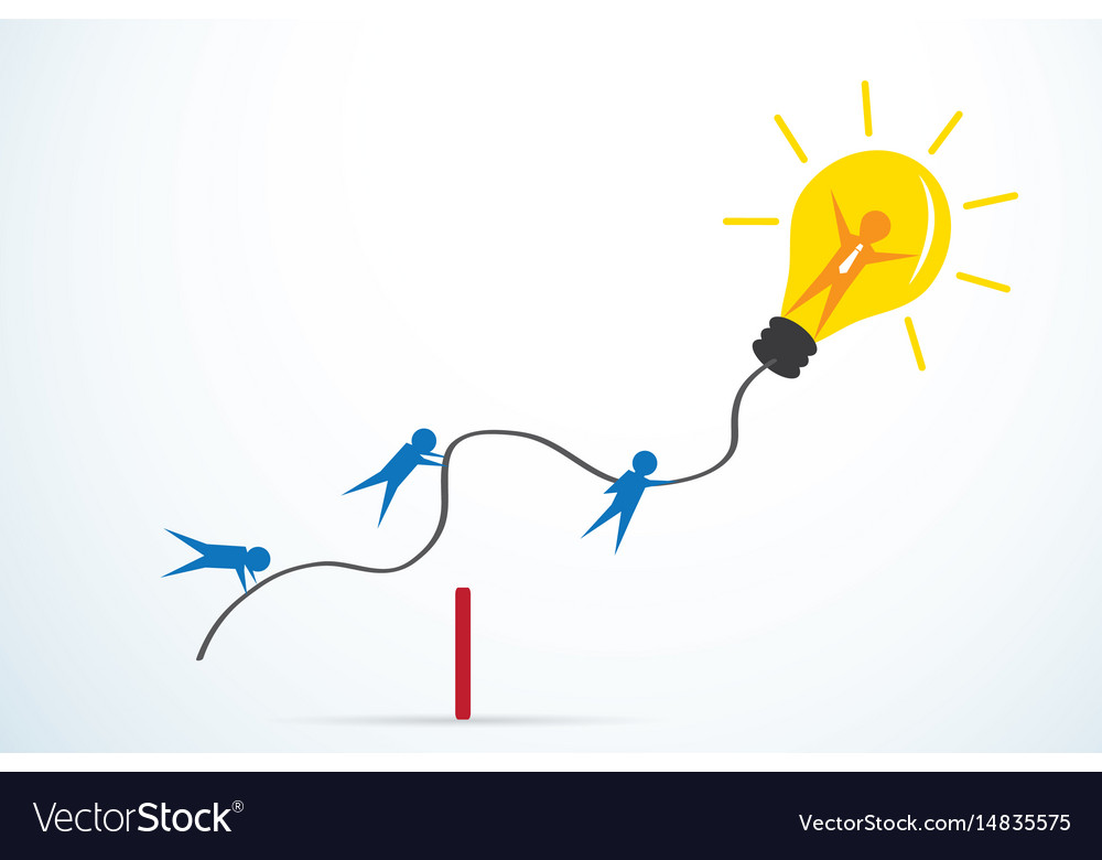 Leader with light bulb and team vector image