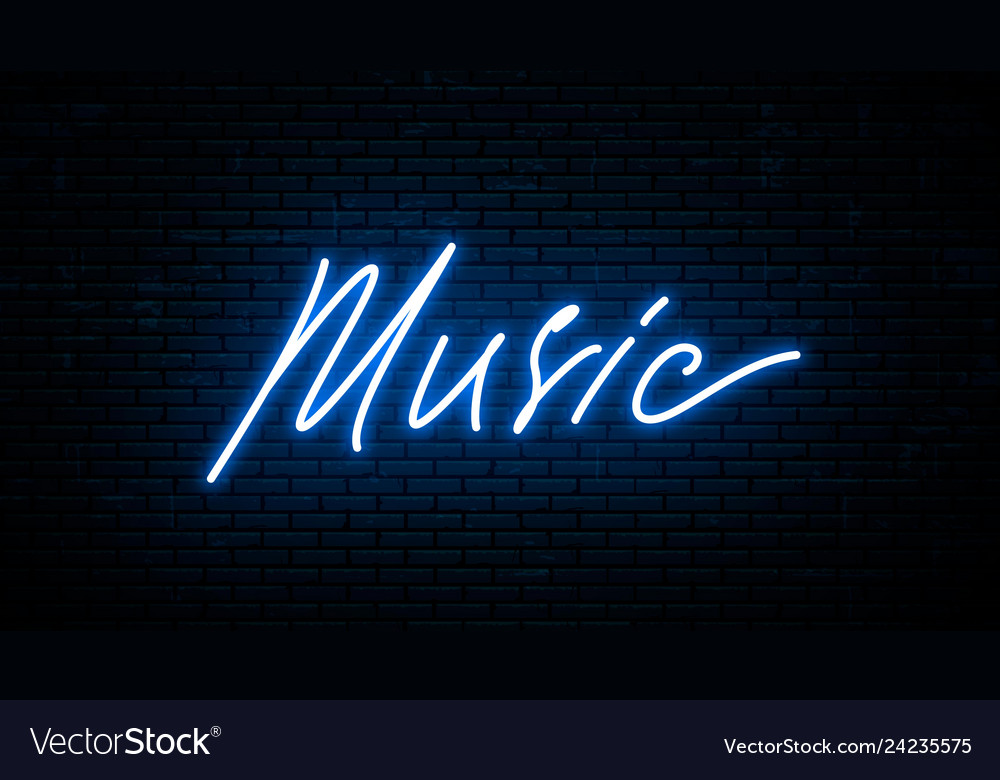 Music neon inscription isolated against the wall