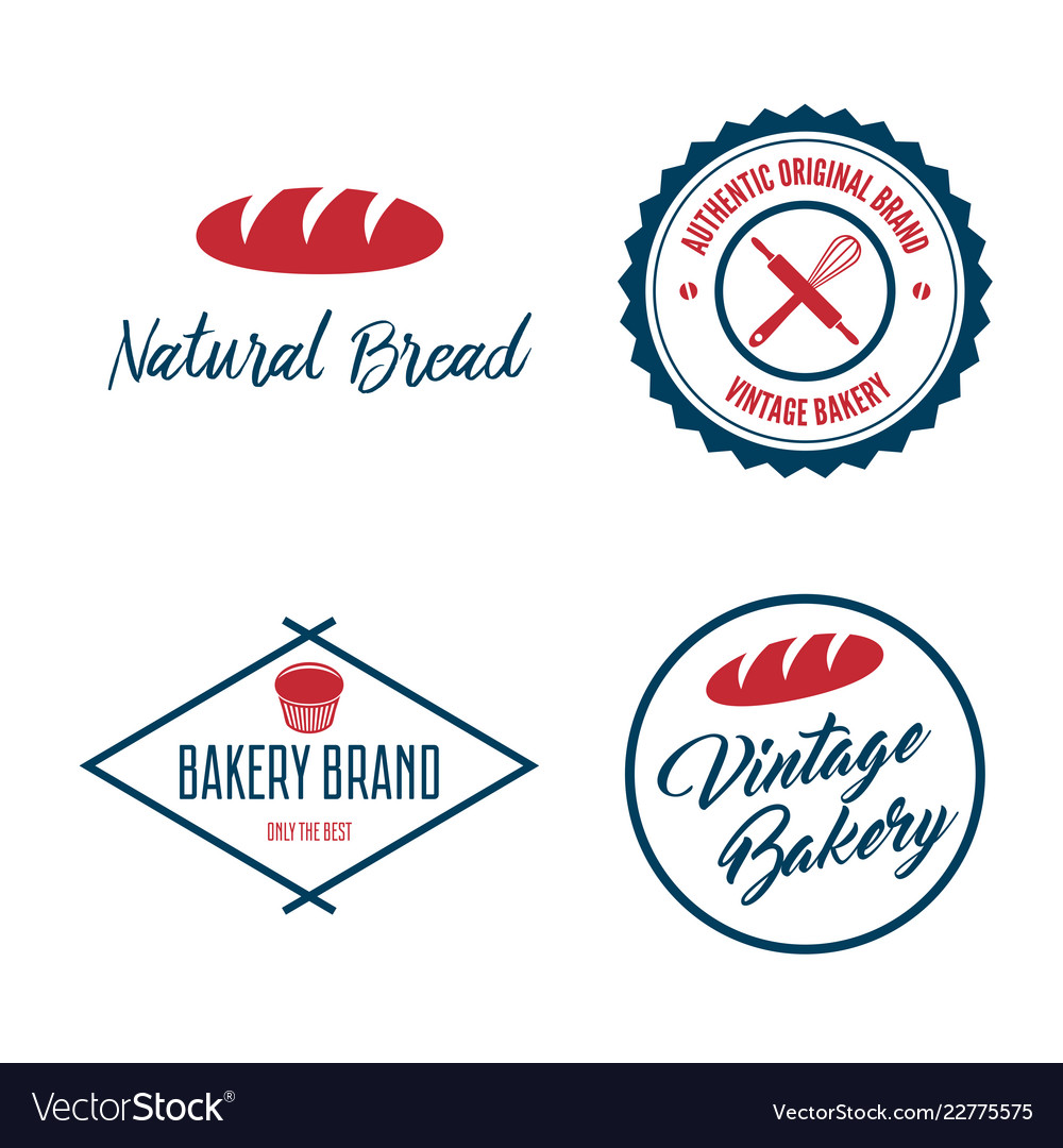 Set of bakery and bread logos labels badges or