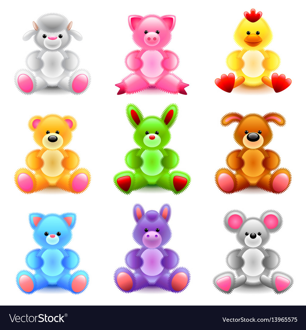 Soft toys icons set