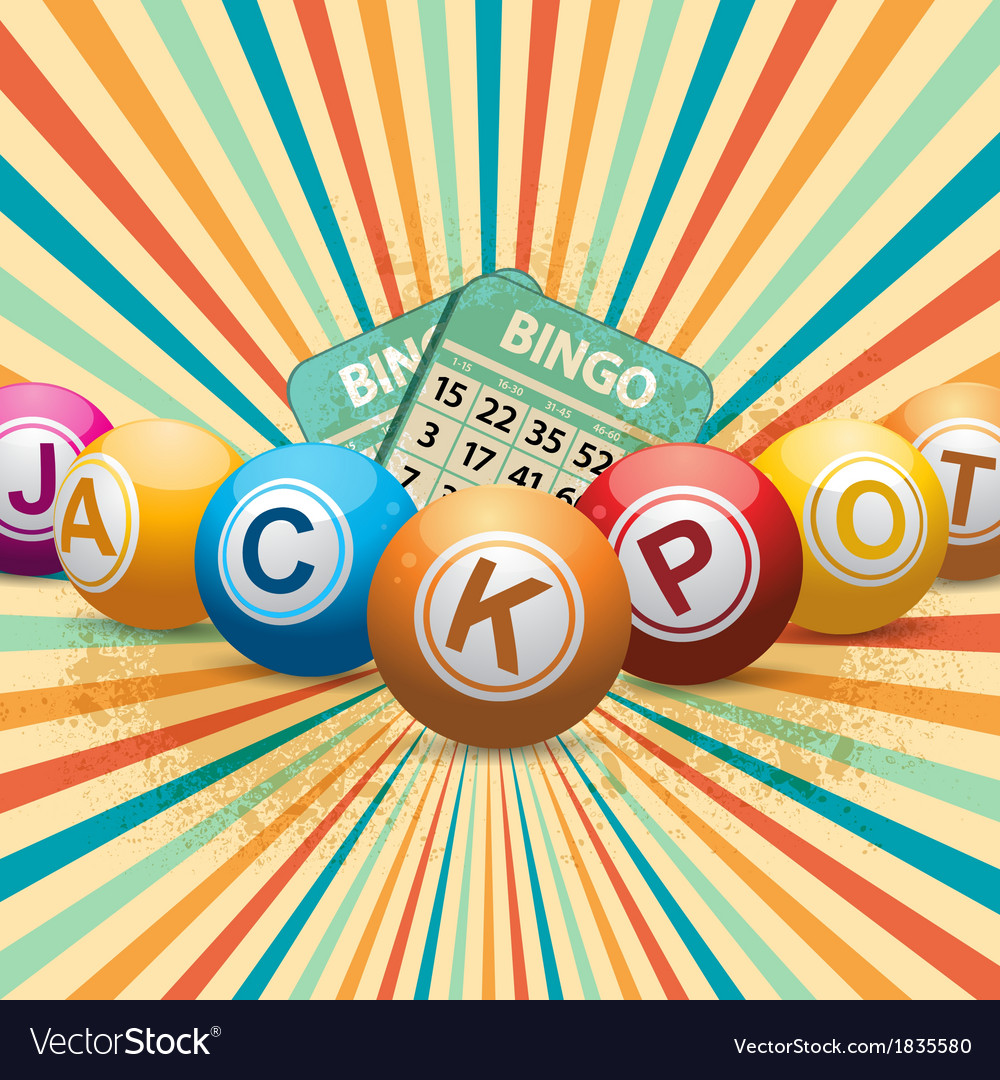 Bingo balls and cards on retro starburst vector image