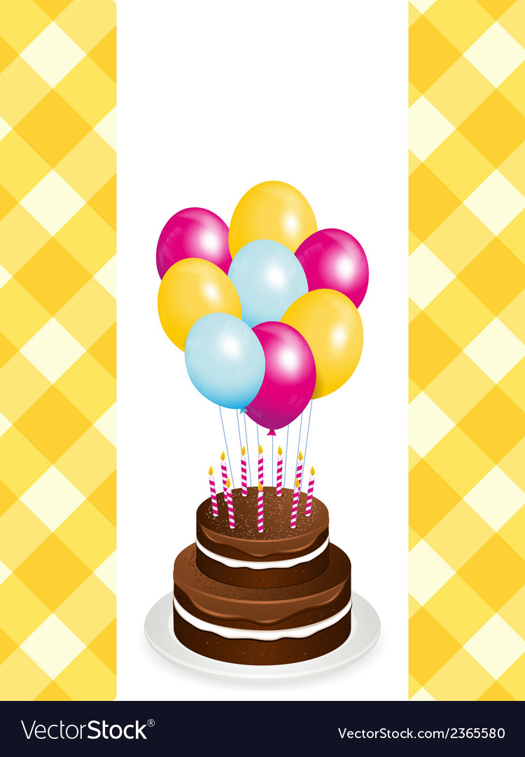 Chocolate Birthday Cake And Balloons Royalty Free Vector