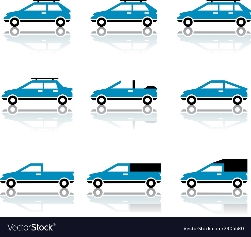 Different car body style icons vector image